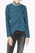 SASS & BIDE Athology Blue Silk Top Draped Blouse Size 44/US 10 Celeb FAV