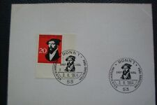 Postkarte mit Ersttagsstempel 1964 mit Randmarke Michel-Nr 439 Johannes Calvin