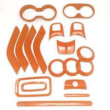 18x Interior Accessories Parts Trim Dashboard Dash Kit For Jeep Wrangler Orange