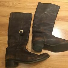 PRADA Riding Boots Brown Leather Buckle Vintage Looking Size UK 5.5 EU 38.5