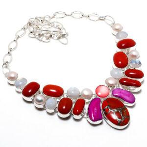 """Italian Red Coral, Pearl Handmade Ethnic Style Jewelry Necklace 18"""" LL"""