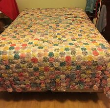 "Vintage Antique Handmade Feedsack YOYO QUILT 84"" X 95"" Bedspread Coverlet"