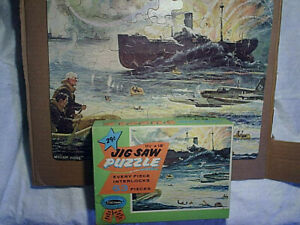 1950's WWII WAR PUZZLE nazi attack plane,military ships,soldiers,William Juhre