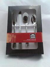 New 24 Piece Stylish Kitchen Stainless Steel Cutlery Set Tableware Dining kit UK