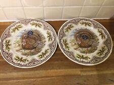 More details for royal stafford christmas turkey dinner plates thanksgiving x2 - brand new.