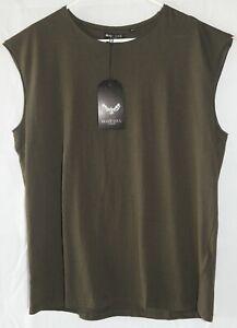 Tank Top Sleeveless Gym T Shirt Medium Dark Khaki New Casual Cotton Singlet Men
