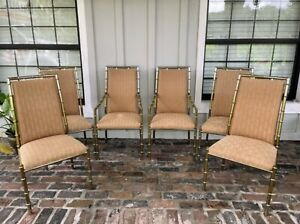 Vintage Brass Faux Bamboo Dining Chairs Hollywood Regency Gold