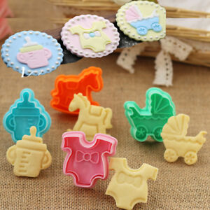 4pcs Baby Shower Clothes Cookies Plunger Cutter Mould Fondant Cake Biscuit Mold