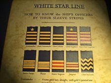 White Star Line, RMS Titanic, Officer Identification Chart, 1912 Replica.