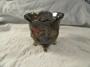 """Vintage Imperial Carnival Glass Iridescent Purple Footed Bowl, Candy/Nut 4.5"""""""