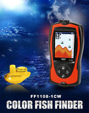 2-in-1 Wireless Color Screen Sonar Smart Fish Finder Waterproof LCD W/Alarm US