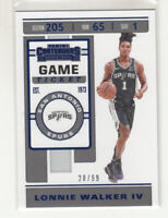 LONNIE WALKER IV 2019-20 Panini Contenders Game Ticket Blue #71 Spurs Mint 28/99