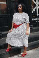 ZARA WHITE FLOWING POLKA DOT PRINTED LONG DRESS SIZE XL REF. 4886/058