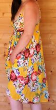 M & S Size 16 Summer Dress/Beach Dress 100% Cotton Floral Yellow Store price £25