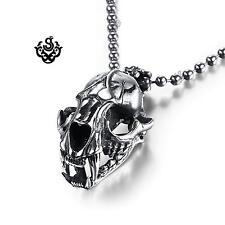 Silver skull pendant solid stainless steel necklace open-able big