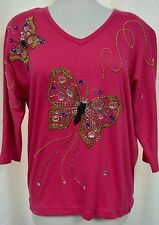 Cervelle Embroidered Butterfly Knit Top Hand Beaded V-Neck Dolman Sleeves Sz M