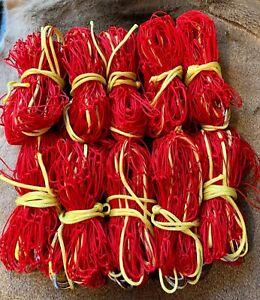 10 x 4ft HEAVY DUTY 10z BRIGHT RED  NYLON RABBIT PURSE NETS FERRETING HUNTING