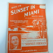 songsheet SUNSET IN MIAMI Sidney Firman 1937