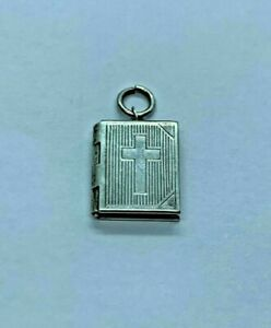 Stunning Vintage Opening Bible Book with Cross Pendant 925 silver 2.0grams #9455