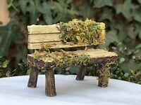 Miniature Dollhouse FAIRY GARDEN Figurine ~ Mini Resin Wood Look Bench w Moss