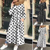 Womens Long Sleeve Polka Dot Abaya Muslim Dress Casual Loose Kaftan Midi Dresses