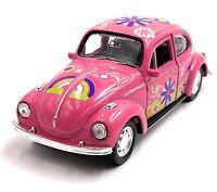 VW Käfer Beetle Hardtop Modellauto Auto Flower Pink Maßstab 1:34 (lizensiert)