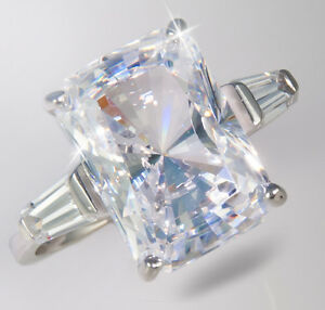 9 ct Brilliant Radiant w/ Baguettes Brilliant CZ Imitation Moissanite SS Size 7