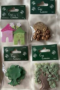 CARD COLLECTION DECORATIVE EMBELLISHMENTS TREES, HOUSES & CARS