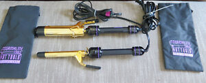 """x2 LOT Tourmaline Hot Tools Professional Curling Irons 1101/1102 3/4"""" and 1 1/2"""""""