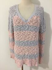 Free People V-Neck Sweater Loose Fit Pink & Pale Lilac Cotton Blend Size XS