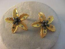 Rhinestone Pierced Earrings Gold Tone Estate Costume Joan Rivers Cactus Flowers