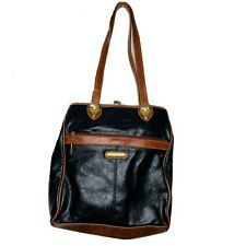 MONDANI Classic Black w/Brown Trim Slouchy Shoulder Shopper Bucket Satchel Bag