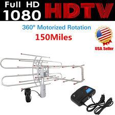 1080P Outdoor Amplified Antenna Digital HD TV 150 Mile 360 Rotor UHF/VHF/FM WT