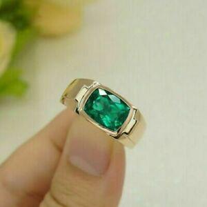 3Ct Cushion Cut Green Emerald Men's Engagement Ring 18K Yellow Gold Finish