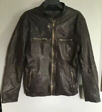 Firetrap UK Vintage Men's Brown Leather Jacket Zippered Size Medium