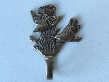 Vintage Brass Metal Sparrow Birds Clothing Coat Towel hat Hanger Hook 4""