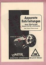 WILLICH, Werbung 1952, Hans Meyer Armaturen-Apparate-Bau Apparate Rohrleitungen