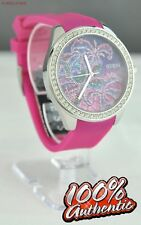 FREE Ship USA Chic Ladies Watch GUESS Pink Rubber Steel Women Lovely
