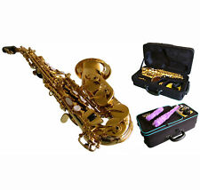 CURVED SOPRANO  SAXOPHONE  Bb GOLD LACQUER - Shop Adjusted! Plays the best!