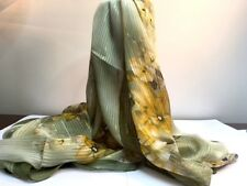 Bufanda de seda verde y oro floral con hilos de oro y plata 160X50CM de largo