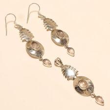 Natural Brazilian RoseQuartz Pineapple Earrings 925 Sterling Silver Fine Jewelry