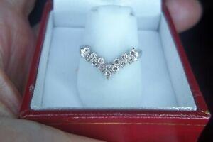Platinum 0.28 Ct. Genuine Diamond Chevron V Shape Anniversary Ring Band Sz 7.25
