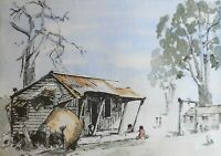 """AUSTRALIAN WATERCOLOUR  """" THE OLD HUMPY """"  DEE SPENCER 1986  P44"""