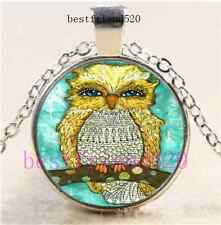 Bling Yellow Owl Photo Cabochon Glass Silver Chain Pendant Necklace
