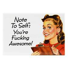 Note To Self Fridge Magnet Funny Decor Retro Novelty Housewife Kitsch Gag Humour