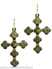 "pattern Cross Earrings 1 1/2"" Drop Vintage style Aged Finish Gold floral"