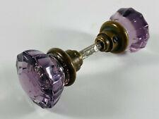 Antique WOW 12 Point Purple Glass Door Knob Set VERY NICE