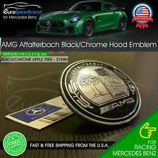 AMG Front Hood Emblem Affalterbach Black Chrome Apple Badge Mercedes Benz 57mm