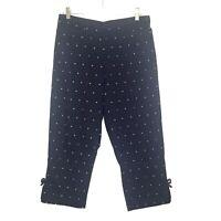 Dressbarn Women's Stretch Capris Crop Pants 10 Navy Blue Embroidered Dots