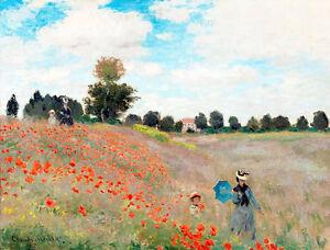 Poppy Field by Claude Monet A1+ High Quality Art Print